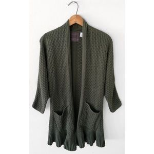 Anthropologie Sweaters - ANTHROPOLOGIE GUINEVERE GREEN RUFFLE CARDIGAN SZ S